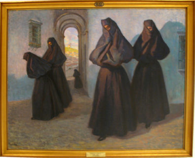 CADIZ: The museum also contains a collection of Spanish paintings, among them this scene depciting the traditional women's garb of Vejer. In the Museum of Fine Art and Archaeology, Cadiz.