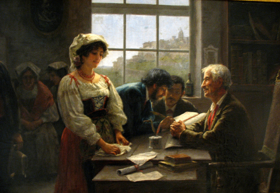 """CADIZ: José Rico Cejudo: El contrato de matrimonio (""""The Matrimonial Contract"""", 1895) depicts a traditional scene of the signing of the register, an act which legalizeds the marriage of the young couple. Note how the notary ogles the bride while the oblivious groom signs in the background. Cejudo was from Sevilla (1864-1939). In the Museum of Fine Art and Archaeology, Cadiz."""