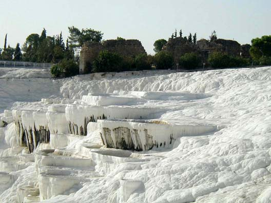 PAMUKKALE: The cliff near the top, showing part of the Roman ruins of Hieropolis above.