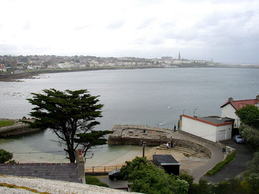 "SANDYCOVE: View of Dun Laoghaire (pronounced ""Dun Leary"") from the top of the tower."