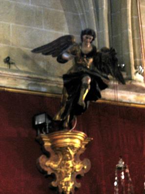 ARCOS DE LA FRONTERA: An angel springing into the air inside San Pedro. From the Chapel of the Rosary (1784), Santa Mar'a de la Asunci—n, Arcos de la Frontera.