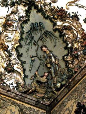 MADRID: Porcelain was invented in China and remained for a long time associated with it. Here the rococo decorations reflect ideas about the romantic Orient in plaster relief by JosŽ Gricci. It houses the royal porcelain collection.