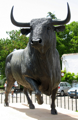 RONDA: We didn't go into the famous bullfighting ring in Ronda, but we did park by this bronze bull in the lot next door.