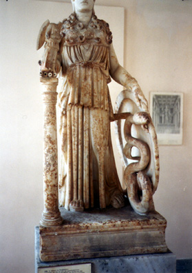 ATHENS: Detail of an ancient model of the colossal statue of Athena originally in the center of the Parthenon, showing the snake inside her shield. (Okay, so I accidentally cut her head off.) In the National Archeological Museum.