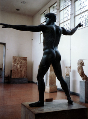 ATHENS:The famous bronze statue of Poseidon (formerly thought to be Zeus), from an angle you don't usually see in the art books.
