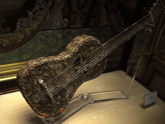 MADRID: A highly ornate guitar in the royal collection of musical instruments in the Royal Palace, Madrid.