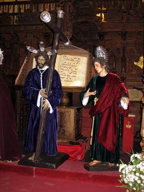 RONDA: Christ with saint in front of musical score, inside Santa María la Mayor.