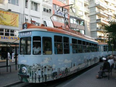 ANTALYA: The Antalya trolleys are covered with depictions of tourist spots. Recognize the gate from Afrodisias on the front of this one?