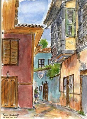 ANTALYA: We stayed at the charming Villa Perla, whose entrance is shown in this little painting we bought from a local watercolor artist just down the street, Omer Gungor. We had chosen Antalya for three days of relaxation, and it proved a perfect choice. We were alarmed when we arrived that night to find the booking agency had never forwarded our reservation and that the hotel was full; but Perla, the owner, welcomed us warmly with a free glass of wine and volunteered her own room for us.
