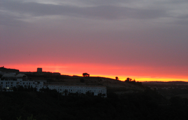 RONDA: That night we watched the sunset from the balcony of our apartment in Vejer.