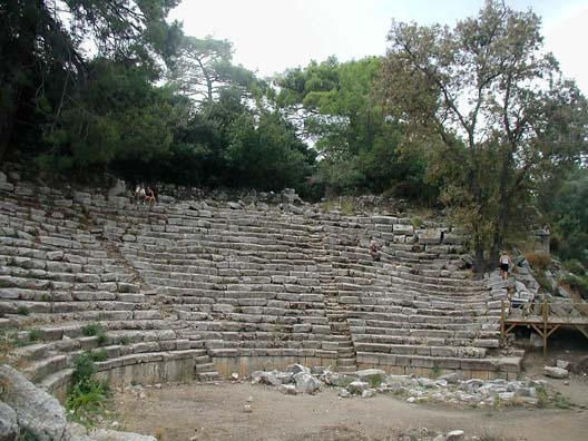 PHASELIS: There's a small theater at the site. The many green trees and the surrounding water give Phaselis a romantic air.
