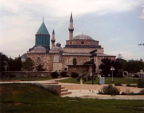 KONYA: This is the view from the other side of the Museum grounds, showing the rose garden where Rumi met the Sufi mentor who inspired many of his finest poems and changed his life: Shams (Mehmet Semseddin Tebrizi). The area where the observance ritual was performed is immediately to the left in this picture. The green dome marks the location of Rumi's Tomb.