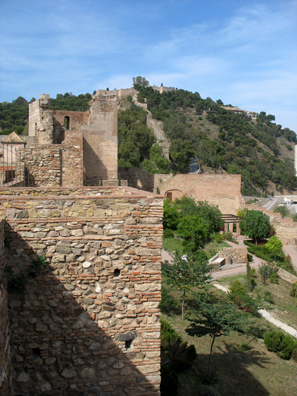 MALAGE: We didn't climb up the hill to the Castillo beyond, but here's the view in that direction from the Alcazaba.