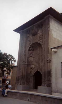 KONYA: This is the famous carved door to the Seminary of the Slender Minaret (Ince Minare Medresesi), now the Museum of Wood and Stone Carving, worth a visit. Unfortunately our little cardboard camera couldn't do justice to the exhibits inside, .