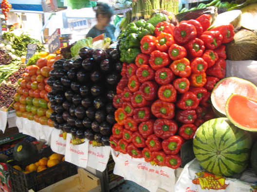 MALAGE: There were also plenty of fresh fruits and vegetables available. We bought a paper cone full of intensely flavorful strawberries and ate them later that day with double Devon cream, available in a Spanish supermarket thanks to the EU. Mercado Central de Atarazanas.