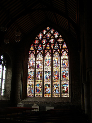 KILKENNY: This handsome stained-glass window is a 19th-century creation showing the influence of the Pre-Raphaelite School of artists.
