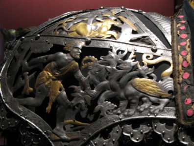 MADRID: This striking detail ornaments a shoulder piece showing Hercules slaying a hydra. In the Armer'a in the Palacio RŽal.