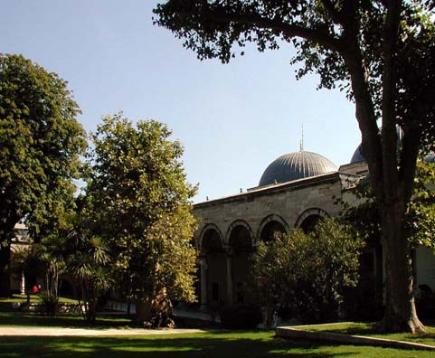 TOPKAPI PALACE: The Palace grounds are a pleasant place to rest (and can be entered free). If you have time, visit the three much less crowded stunning museums off to the left of the main entrance, behind the palace. Anyone interested in antiquities will find them fascinating. Unfortunately, we were unable to take pictures in them on the day we visited--next time!