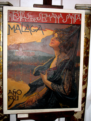 MALAGE: Holy Week has long been an occasion for huge secular celebrations as well as religious processions, as this travel poster from the 1921 shows. In Museo de artes y costumbres populares, M‡laga.