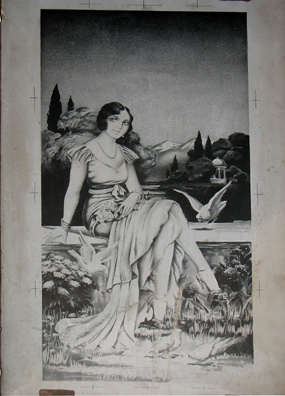 MALAGE: An old engraving block depicting a 20s glamour girl. In Museo de artes y costumbres populares, M‡laga.
