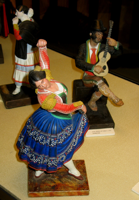 MALAGE: More locally made souvenirs, these are a guitarist and a dancer. In Museo de artes y costumbres populares, M‡laga.