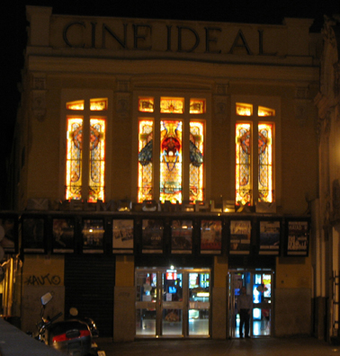 MADRID: On our stroll back to the apartment we passed this movie theater with striking art nouveau stained-glass windows.