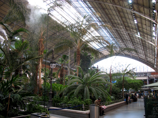 MADRID: When the Spanish built a modern replacement for their ornate Madrid railway station (the first built in the country), they preserved the old structure and turned it into a huge tropical conservatory which makes a very relaxing setting for travelers to pass through on their way to the trains. Mist machines moisten the air.