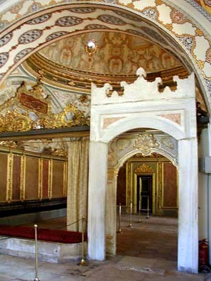 TOPKAPI PALACE: The ornate decor of some of the rooms in the Imperial residential quarters is reminiscent of the splendor of Louis XIV's Versailles; and indeed, some of the later decoration was influenced by European examples. Both the Byzantines and Ottomans kept their rulers in isolation with their families. The Harem was forbidden to all adult males except the Sultan (the Nubian eunuchs who guarded it were kept outside its doors and passed food and supplies in without entering). It was no Playboy Mansion, but the Imperial residence. Of course it's true that most of the Ottoman rulers wildly exceeded the Qur'anic limit of four wives as well as keeping numerous concubines--a fact that endlessly intrigued Europeans. They never married Turkish women, not wanting to create ambition in rival famiies which might marry into the Imperial line. The consequence was that the later Ottoman sultans were essentially non-Turkish in ancestry.