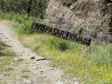 LAS ALPUJARRAS: One hike was interrupted when this sign made clear that we had made a wrong turn somewhere.