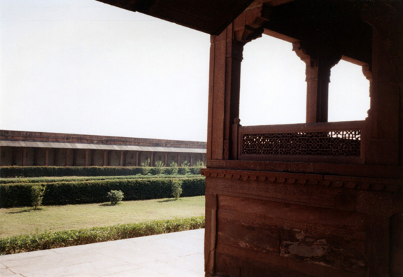 Note the delicate pierced screen, carved of red sandstone, like the rest of the building. Fatehpur Sikri was built by the Emperor Akbar as a new capital of the Mughal Empire, but was occupied only from 1570 to 1586.