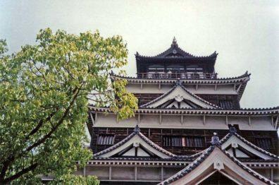 HIROSHIMA: Detail showing the towering donjon fortress of Hiroshima Castle. May 19, 1998