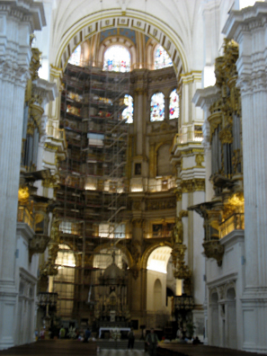 GRANADA: The alter showing the scaffolding being used during its restoration.