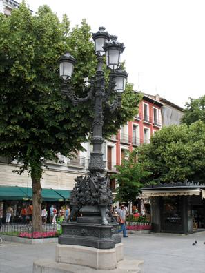 GRANADA: Elaborate streetlamp in the Plaza Bib-Rambla near the cathedral.