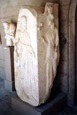 CORINTH: Flower-bearing maiden in the Corinth museum.