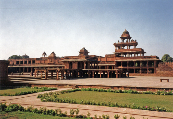 Part of the sprawling palace complex. Fatehpur Sikri was built by the Emperor Akbar as a new capital of the Mughal Empire, but was occupied only from 1570 to 1586. Since Fatehpur Sikri was abandoned shortly after it was built (according to one theory, because of the lack of a sufficient water supply), it has never been attacked or ruined. It looks almost as if it had been deserted yesterday.