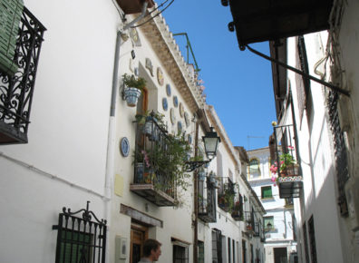 """GRANADA: Our guide (appearing at the bottom of this photo) took us around the old quarter, the Albaicín (also spelled """"Albaycín"""")."""