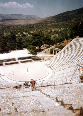 EPIDAURUS: The theater at Epidaurus, remarkably well preserved, so much so that it is still used for performances of ancient Greek dramas. The acoustics are famous, with a very moderate voice from the center of the stage easily audible in the highest seats.