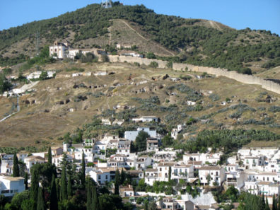 """ALHAMBRA: View from the Alhambra back across to Sacromonte and its """"Gypsy caves,"""" rising above the Albaicín."""
