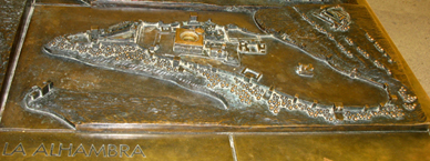 ALHAMBRA: Bronze map of the site as it is today.