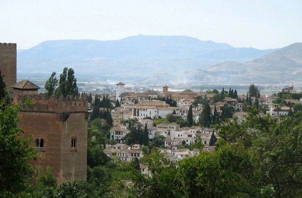 ALHAMBRA: View of the Albaicín from the walls.
