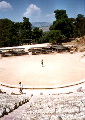 EPIDAURUS: Paula and Paul performed part of the opening scene of Aeschylus' Agammemnon, the first play in the Oresteia trilogy. Despite appearances, our whole audience didn't walk out.