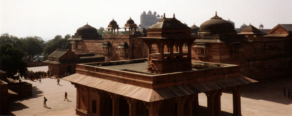 We climbed up some precipitous stairs for this view. In the distance, the great imperial gates of Fatehpur Sikri, built by the Emperor Akbar as a new capital of the Mughal Empire, but was occupied only from 1570 to 1586.