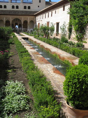 ALHAMBRA: Although the striking jets surrounding this pool are a favorite feature of documentaries about the Generalife, they are in fact a post-Muslim addition to the pool.