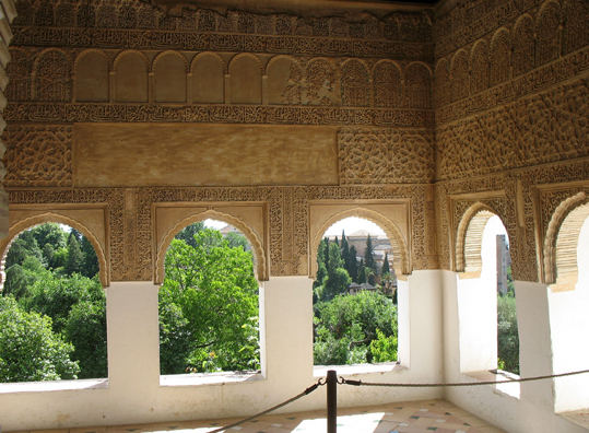 ALHAMBRA: The Generalife was designed to take advantage of cool hilltop breezes in summer; and this room is the coolest of all, with a marvelous view.