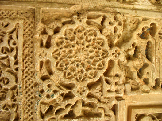 ALHAMBRA: Detail of the decoration, created from molds and wet plaster.