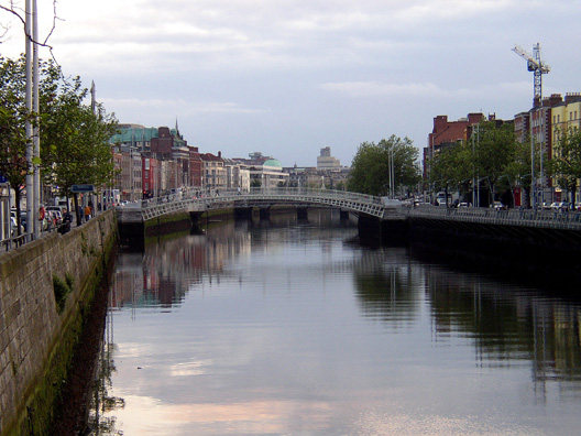 DUBLIN: The River Liffey, which runs through Joyce's works as much as it runs through Dublin, has been somewhat cleaned up in recent years, though one day while we were there it smelled strongly of sewage. Not a place to go fishing or swimming, but picturesque in the sunset as we look toward the Ha'penny Bridge, where pedestrians used to be charged a halfpence coin to cross.