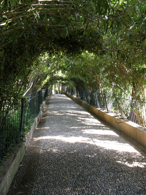 ALHAMBRA: Paseo de las Adelfas, Generalife. This arched walkway was created for a visit by Isabella II in the 19th C.
