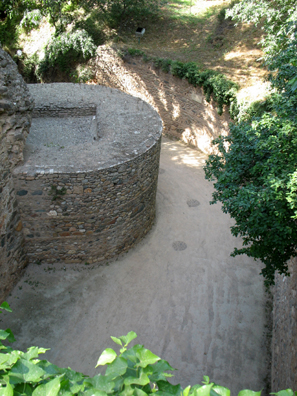 ALHAMBRA:View of the fortifications and moat from the walls of the Alhambra.