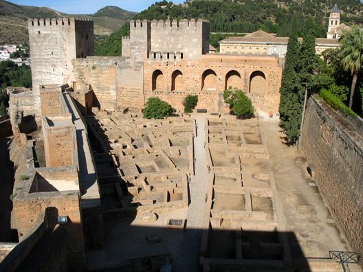 ALHAMBRA: View of the Alcazaba from the Torre de la Vela.