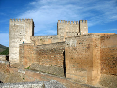 ALHAMBRA: The imposing walls of the Alhambra fortifications.